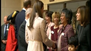 The Duchess of Cambridge meets people in Cambridge.