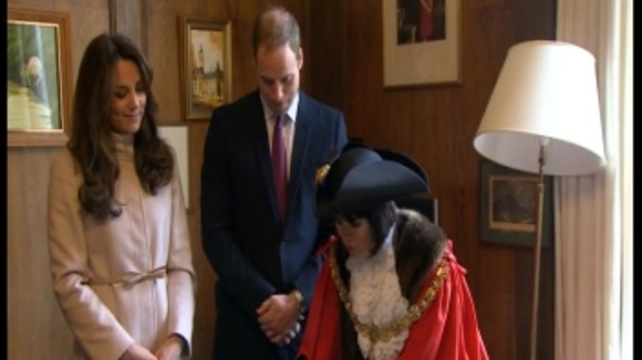 The Royal couple with the Mayor of Cambridge.
