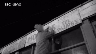 'Grammar vigilante' corrects signs at night
