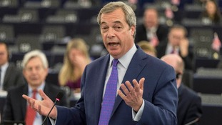 Nigel Farage heckled over 'mafia' remark to MEPs