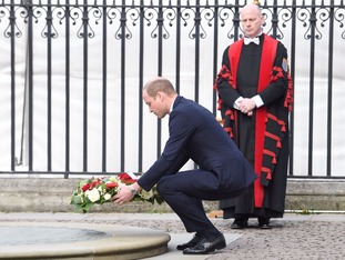 The Duke of Cambridge lays a wreath before the Service of Hope