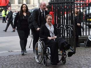 Melissa Cochran, who lost her husband Kurt, 54, in the Westminster terror attack, arriving for a Service of Hope