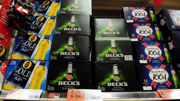 Special offers on alcoholic drinks at a supermarket