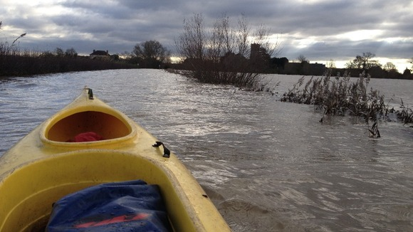 Kayak is possibly the best way to get around Muchelney at the moment.