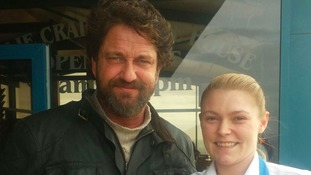Gerard Butler at Gallie Craig coffee house.