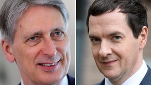 Chancellor Philip Hammond (l) and predecessor George Osborne
