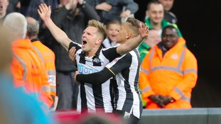 Newcastle United's Matt Richie celebrates scoring his side's first goal of the game during the match at St James' Park, Newcastle.