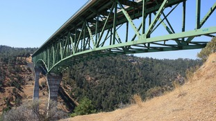 The woman fell 60ft from Foresthill Bridge in California.
