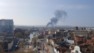 Smoke from warehouse fire seen across Bristol
