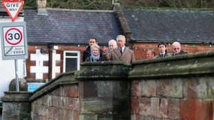 The Prince of Wales visits residents and businesses on Bridge Street in Appleby-in-Westmorland.