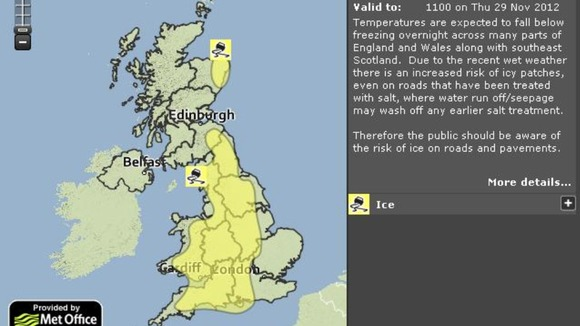 Temperatures are set to drop overnight, leading the Met Office to issue a weather alert