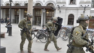 Armed police outside Stockholm Central Station.