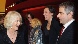 All smiling Camilla meets Miranda Hart and Rowan Atkinson