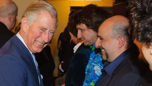 Charles shares a joke with Omid Djalili
