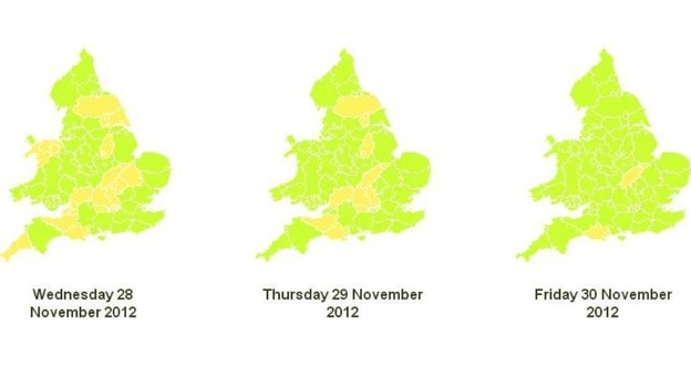The areas shaded yellow are at low risk of flooding, the green are at very low risk
