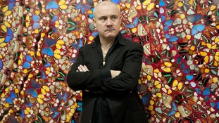 Artist Damien Hirst in front of his work ictured in front of his work I Am Become Death, Shatterer of Worlds