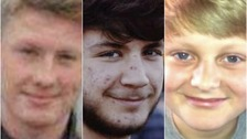 Kyle Warren, Dominic O'Neill and Billy Hines (l-r) were killed in a crash on Wednesday.