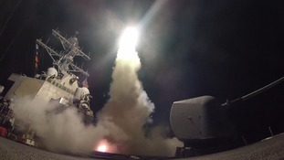 The US launches a missile against a Syrian airbase.