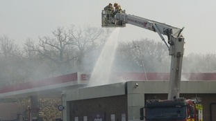 Firefighters had to tackle the blaze from above.