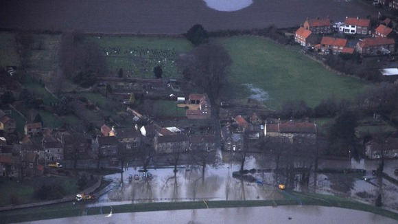 An aerial shot shows the scale of the flooding in Old Malton, North Yorkshire.