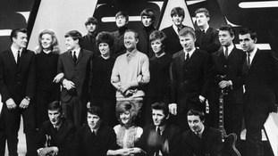 Brian Matthew with The Beatles and Cilla Black.