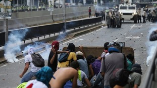 Trouble flared as demonstrations were held in the capital Caracas and other major cities.