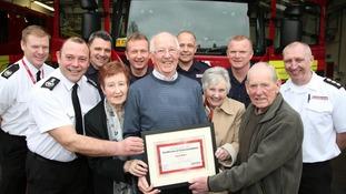 Cyril Bates was honoured at Hinckley Fire Station