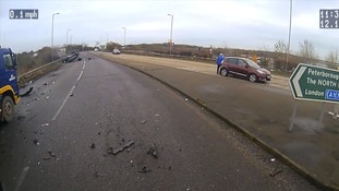 Lorry driver in 'shock' after dashcam captures car flipping over onto its roof
