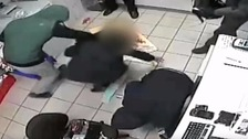 The men forced the woman to her knees and forcibly searched her