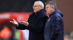 Former Leicester manager Claudio Ranieri with current boss Craig Shakespeare