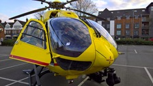 The parking ticket displayed clearly on the helicopter's windscreen.
