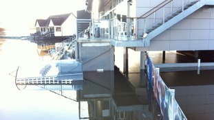 Worcester's cricket ground has been built high in the air to avoid floods