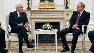 Vladimir Putin holds a meeting with his Italian counterpart Sergio Mattarella.