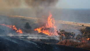 A heathland fire in Suffolk this weekend.