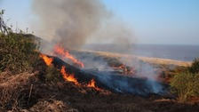 A heath fire in Suffolk.