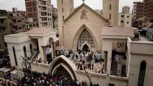 St. George's Church after a deadly suicide bombing, in the Nile Delta town of Tanta