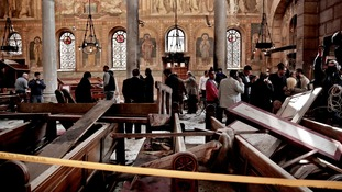 Damage at the St. Mark Cathedral in central Cairo after the bombing in December.