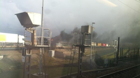 Train fire just outside the Channel Tunnel
