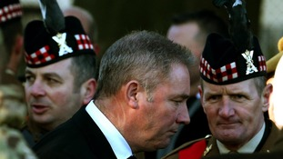 Rangers Manager Ally McCoist at the funeral of Captain Walter Barrie at Glencorse Kirk.