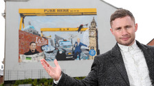 Belfast boxer Carl Frampton helped unveil the Harp mural on Wednesday.