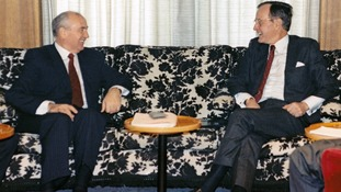 Gorbachev and Bush meet in 1989.