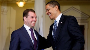 Barack Obama and Russian President Dmitry Medvedev in 2009.