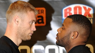 Andrew Flintoff poses head to head with Richard Dawson (right) following a press conference at The Hilton Hotel, Manchester.
