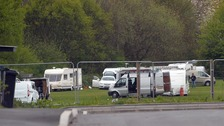The traveller caravans set up camp in Greets Green Park