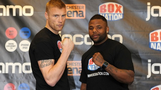 Andrew Flintoff during the weigh in with American Richard Dawson.