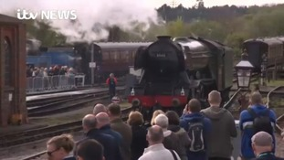 Crowds welcome the Flying Scotsman to Sussex