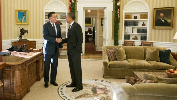 President Barack Obama and Mitt Romney in the Oval Office after lunch