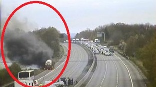 'Please stay in your cars': large lorry fire closes M4