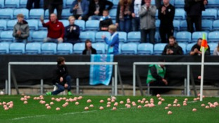 Plastic pigs are cleared off the pitch after being thrown by protesting Coventry City fans