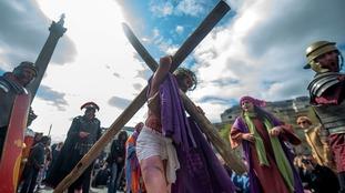 Performance of Passion of Jesus in Trafalgar Square